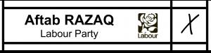 Aftab Razaq ballot