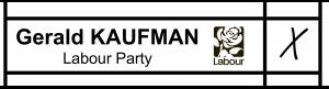 Gerald Kaufman ballot