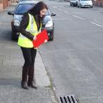 Angeliki inspecting drain