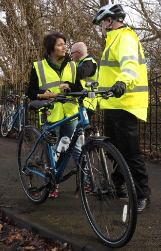 Picture of Cllr Angeliki Stogia with PCSO and camera bike