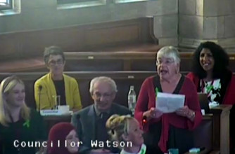 Mary Watson speaking in Council